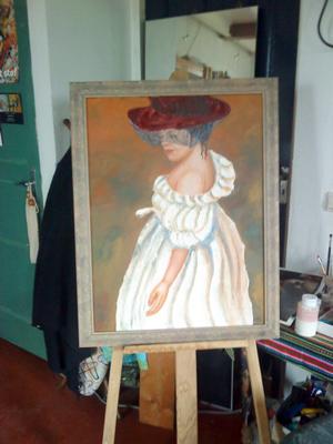 Dame met hoed (olieverf opdoek) / Klik voor een vergroting